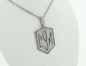 TR_0067 - Sterling Silver CYM Plaque Pendant with Blue Accent