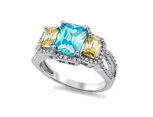 Sterling Silver CZ Three Stone Ring