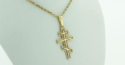 Channeled Gold Orthodox Cross Pendant