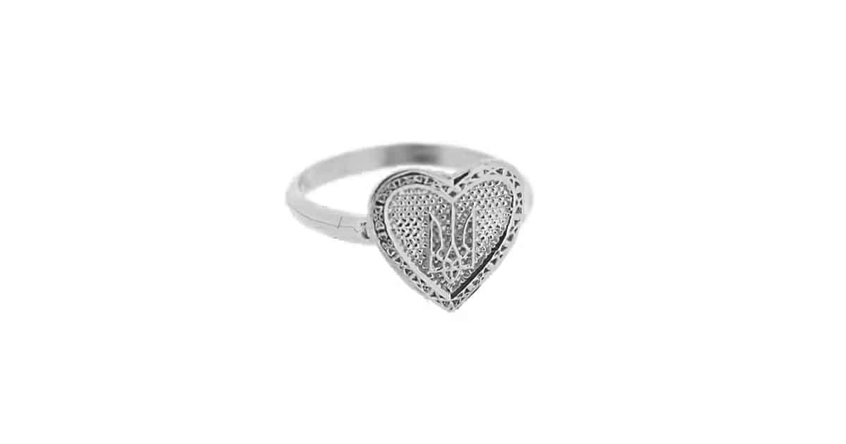 Silver Ukrainian Tryzub Heart Ring