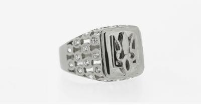 14kt White Gold Tryzub Ring