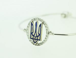 Silver Ukrainian Tryzub Bangle Bracelet
