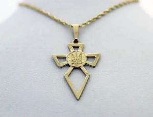 Gold Ukrainian Tryzub Cross Pendant