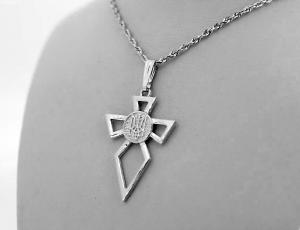 TR0313 - Silver Ukrainian Tryzub Cross Pendant