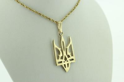 14kt Gold Ukrainian Pointed Tryzub Pendant